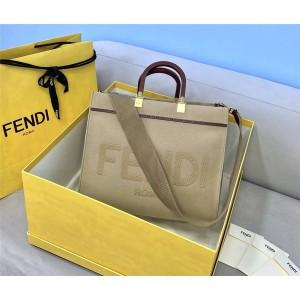 FENDI New Sunshine Medium Beige Canvas Shopping Bag 8BH386