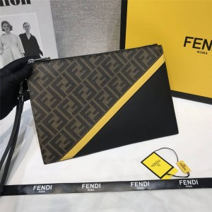 FENDI new men's color matching flat clutch 7N0110