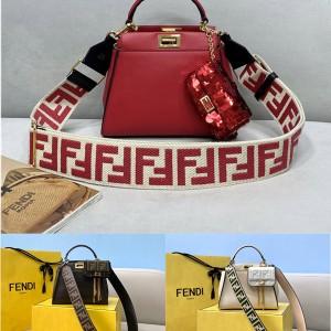 Fendi FF pattern suede lining PEEKABOO mini handbag 8BN244
