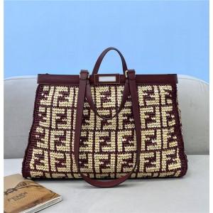 FENDI PEEKABOO X-TOTE FF raffia woven shopping bag 8BH374