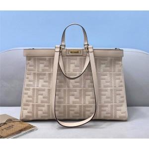 fendi Peekaboo X-Tote medium light pink canvas shopping bag 8BH374