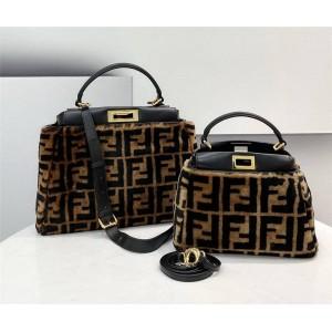 fendi official website PEEKABOO wool FF pattern handbag