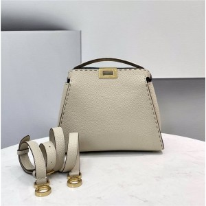 fendi PEEKABOO ESSENTIALLY outer stitching beige handbag 8BN302