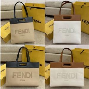 fendi canvas and leather shopping bag tote bag 7VA480/7VA481