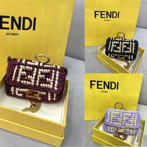 FENDI NANO BAGUETTE charm raffia woven bag decoration 7AR844