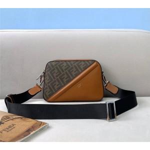 FENDI FF pattern stitching leather camera bag 7M0286