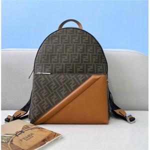 FENDI Men's Brown Fabric Backpack 7VZ042
