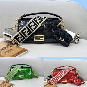 FENDI BAGUETTE Medium Sequined Handbag 8BR600