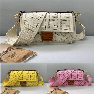 FENDI FF Hollow Embroidery BAGUETTE Handbag 8BR600