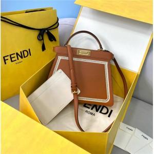 FENDI Hollow Embroidery PEEKABOO ISEEU Medium Handbag 8BN321