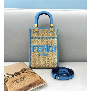 FENDI Woven Sunshine Mini Tote Bag Handbag 8BS051