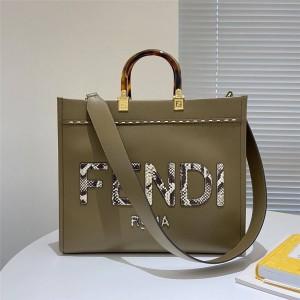 FENDI Sunshine Medium Stitching Snakeskin Shopping Bag Grey 8BH386