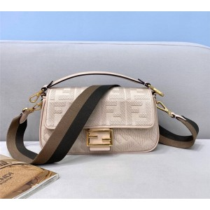 fendi embroidered FF canvas BAGUETTE handbag 8BR600 gray/pink