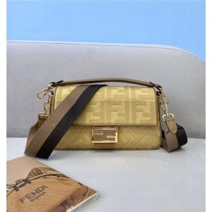 fendi embroidery FF canvas BAGUETTE handbag 8BR600 yellow