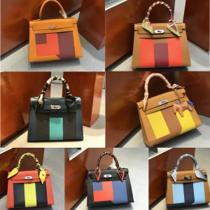Hermes handmade three color matching leather Kelly 28 letter bag