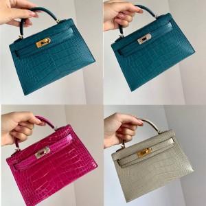 Hermes crocodile leather 2nd generation Mini Kelly handbag