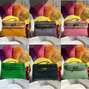 Hermes new crocodile leather 1 generation Mini Kelly handbag