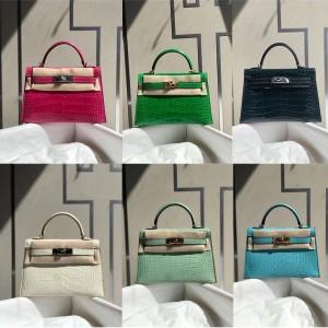 Hermes crocodile leather second generation Mini Kelly handbag