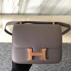 Hermes rose gold buckle Constance Epsom leather shoulder bag
