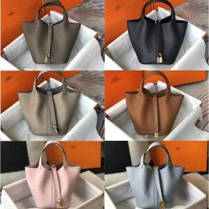 Hermes handmade Picotin cowhide basket bag bucket bag