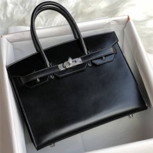 hermes official website Birkin 30 BoX leather handbag black