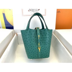 Hermes Ostrich Leather Picotin Vegetable Basket Bag Velvet Green
