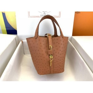 Hermes Ostrich Leather Picotin Handbag Bucket Bag