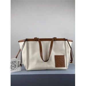 Loewe new cushion tote canvas and leather shopping bag