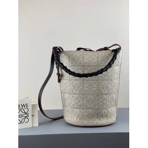 LOEWE Anagram Linen and Cow Leather Gate Bucket Handbag Bucket Bag