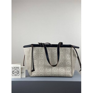 LOEWE cushion tote jacquard canvas and leather shopping bag