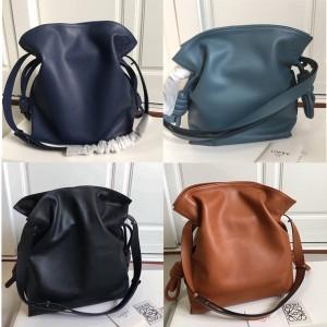 LOEWE leather Flamenco Knot Bag drawstring bucket bag