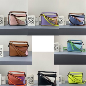 LOEWE geometric color matching stitching MINI Puzzle handbag