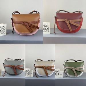 LOEWE color and leather bow GATE handbag small saddle bag