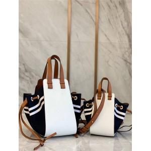 LOEWE navy style stitching Hammock Drawstring handbag