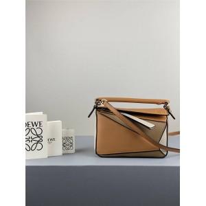 Loewe new ladies geometric stitching Puzzle handbag light caramel