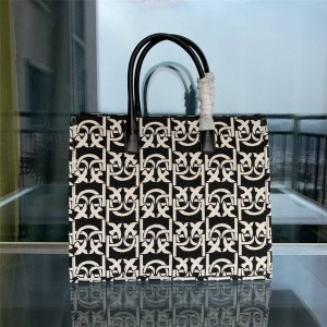pinko official website MONOGRAM jacquard fabric LOVE shopping bag