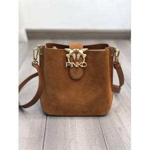 pinko SEVENTIES suede and leather BUCKET LOVE handbags