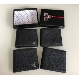 Prada deerskin triangle logo short bi-fold wallet 2MO513
