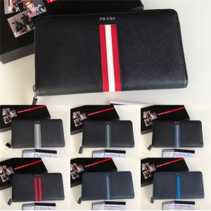 Prada Men's Striped Colorblock Large Zip Leather Wallet 2ML188