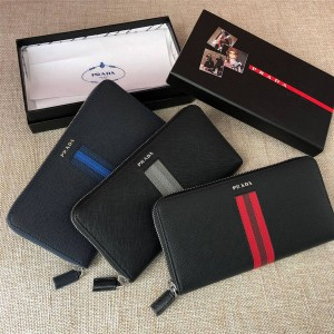 PRADA Men's Colorblock Striped Small Zip Wallet 2ML317
