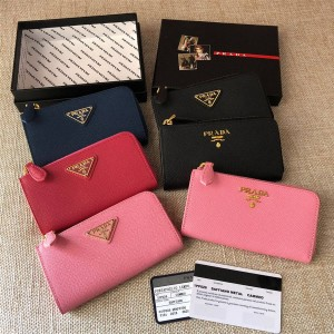 PRADA Wallet Crossgrain Leather Key Case 1PP026