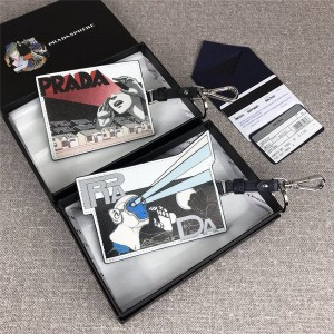 PRADA Men's Printed Keychain Bag Decoration Pendant 2MC032