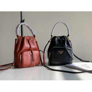 PRADA Handbag New Duet Leather Handbag Bucket Bag 1BH038