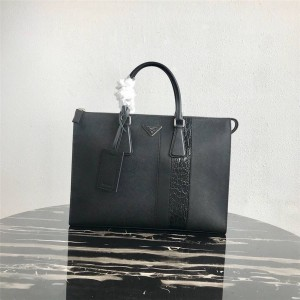 PRADA Men's Bag New Saffiano Crocodile Pattern Briefcase 2VG039