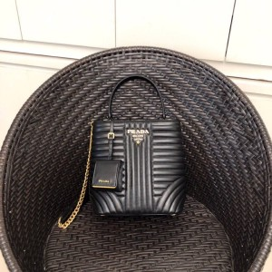 Prada leather embroidery thread double bag bucket bag 1BA212