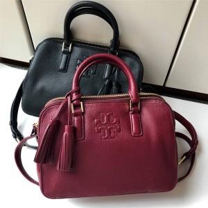 tory burch TB handbag leather tassel Boston pillow bag