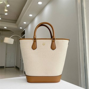 tory burch TB new Carter canvas and leather bucket bag