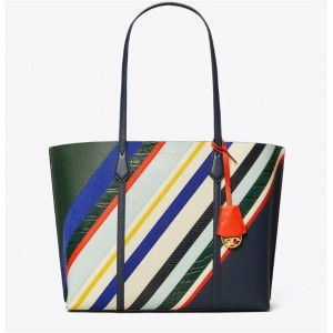 tory burch TB new striped Perry tote shopping bag