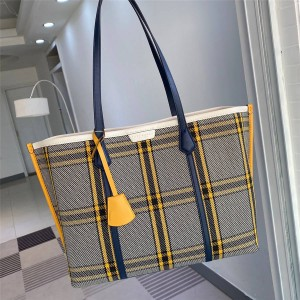 tory burch TB PERRY PLAID plaid canvas tote shopping bag