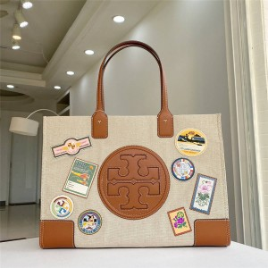 tory burch TB badge ELLA MULTI-STITCH TOTE shopping bag